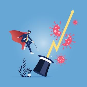 Homme d'affaires avec graphique magique surmonter la crise du virus corona-business concept financier