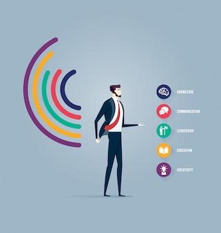 Homme d'affaires avec graphique personnel de statistiques. vecteur de concept d'affaires