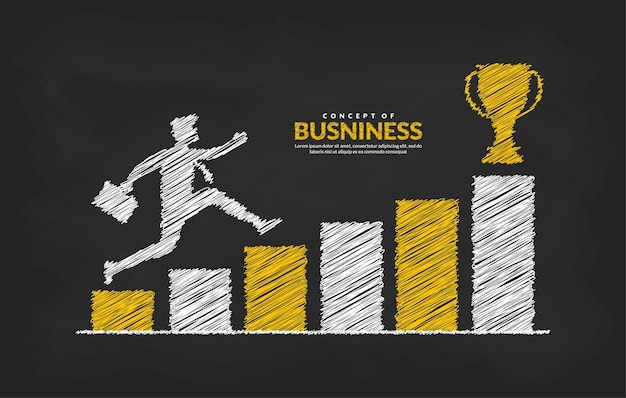 Homme d'affaires sur le graphique sautant à travers les obstacles au succès concept de risque et de succès commercial