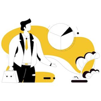 Homme d'affaires et graphique style plat illustration
