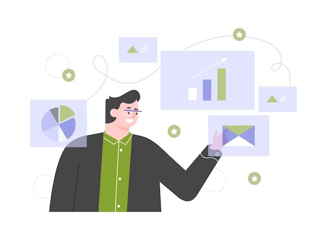 Homme d'affaires et graphiques. analyse du tableau de bord des états financiers. recherche en marketing. illustration plate.