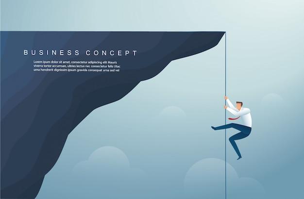 Homme d'affaires a grimpé le modèle de fond de montagne