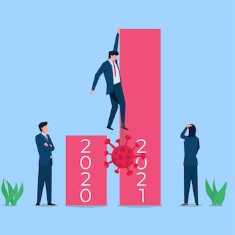 Homme d'affaires grimper la barre pour rester à l'écart de la métaphore virale de l'économie après la pandémie.