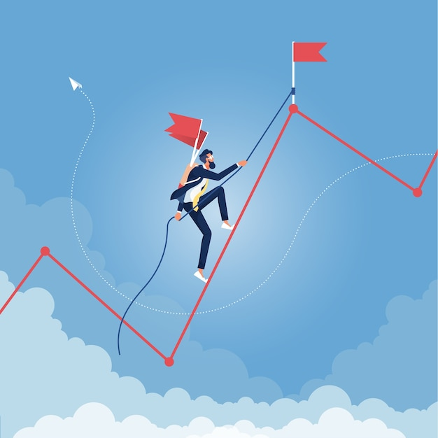 Homme d'affaires grimper le graphique. leadership, succès, croissance, concept de carrière en entreprise