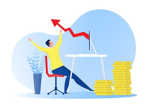 Homme d & # 39; affaires heureux avec cravate rouge sautant de joie en raison de la croissance des bénéfices des entreprises en ligne illustration