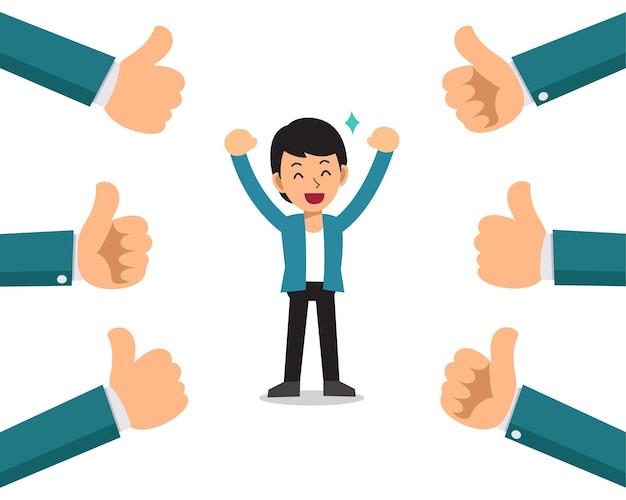 Homme d'affaires heureux de dessin animé de vecteur avec beaucoup de pouces vers le haut des mains.