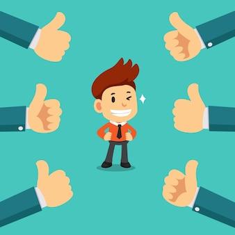 Homme d'affaires heureux dessin animé de vecteur avec beaucoup de pouces vers le haut des mains