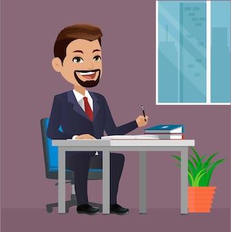 L'homme d'affaires heureux s'asseoir à la table