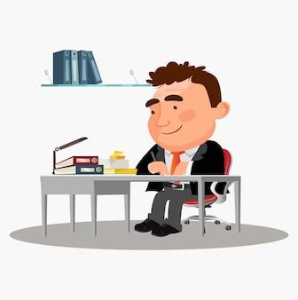 L'homme d'affaires heureux s'assied à la table