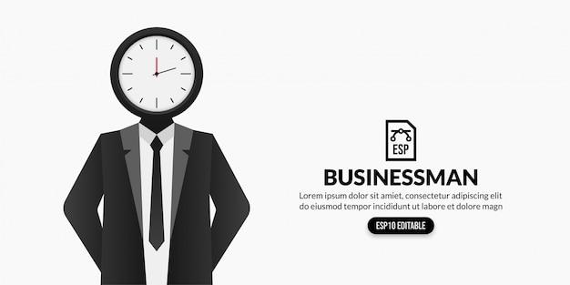 Homme d'affaires avec horloge au lieu de tête, concept de gestion du temps