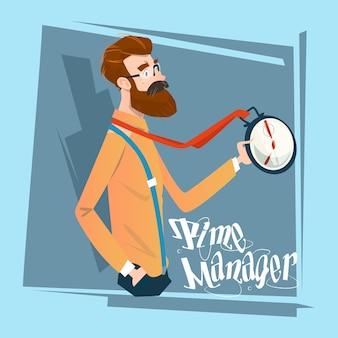 Homme d'affaires avec horloge concept de gestion du temps