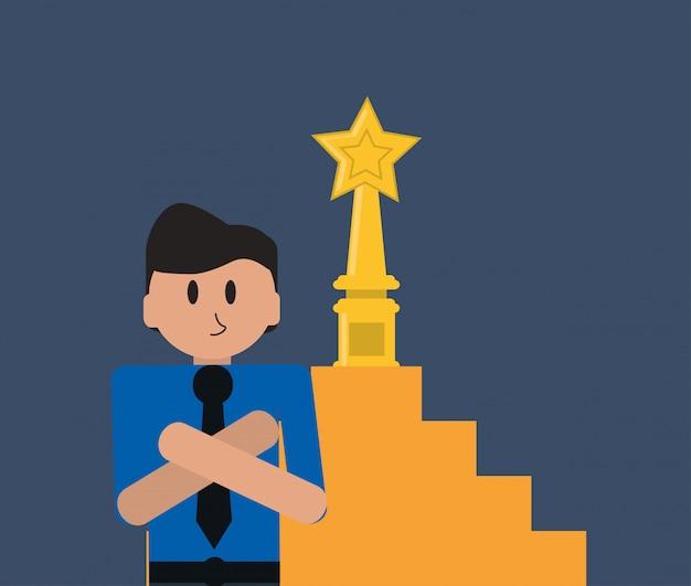 Homme d'affaires et icône de trophée