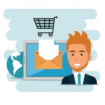 Homme d'affaires avec des icônes de marketing par courriel