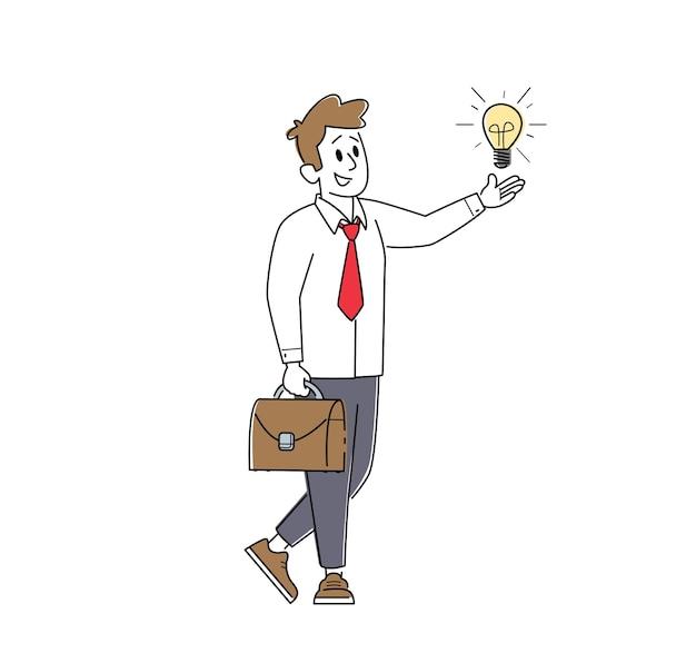 Homme d'affaires avec idée créative, perspicacité, vision d'entreprise, processus éducatif et motivation