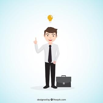 Homme d'affaires avec une idée et une mallette