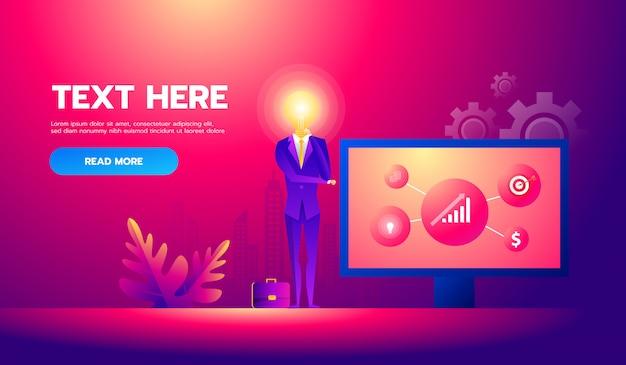 Homme d'affaires avec idée travaillant sur le projet de présentation. illustration vectorielle