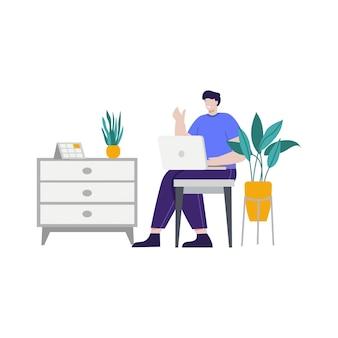 Homme d'affaires illustration de concept de travail pour la page de destination