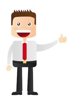 Homme d'affaires avec illustration vectorielle de bonne main signe