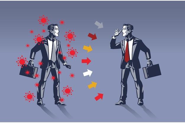 Homme d'affaires infecté par le virus covid 19 met en danger son concept d'illustration de collègue