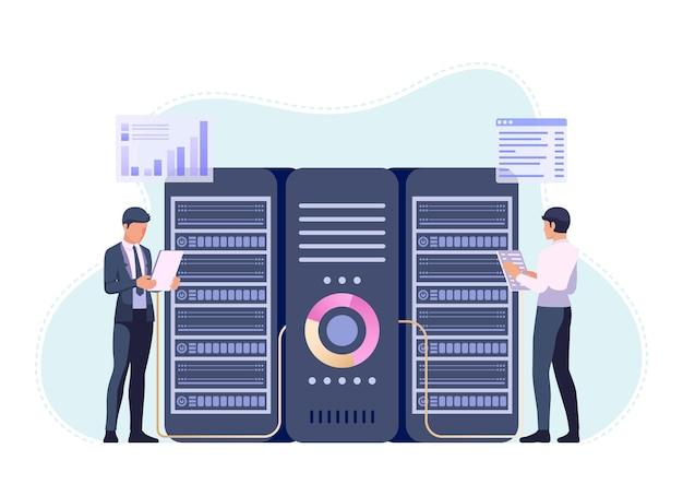 Homme d'affaires ou ingénieur travaillant dans la salle du centre de données. concept de gestion de serveur et de maintenance du système de base de données.