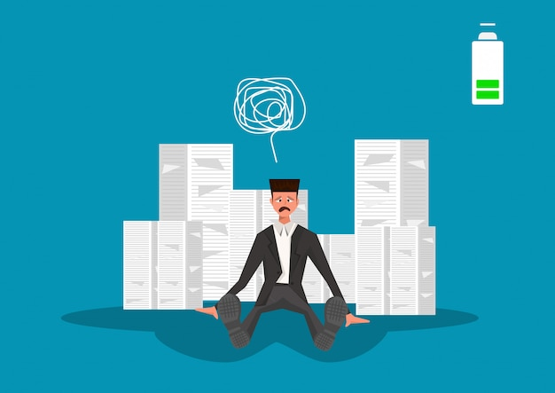 Un homme d'affaires a insisté pour qu'il travaille fort sur de nombreux papiers avec une batterie faible