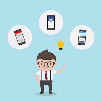 Homme D'affaires Avec Internet Mobile Marketing Des Médias Sociaux Vecteur Premium