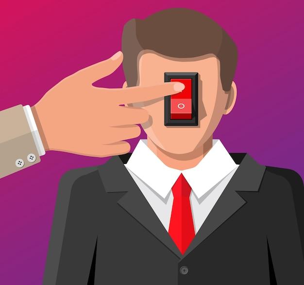 Homme d'affaires avec interrupteur d'alimentation dans la tête et la main