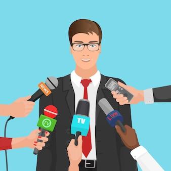 Homme d'affaires interviewé par des journalistes