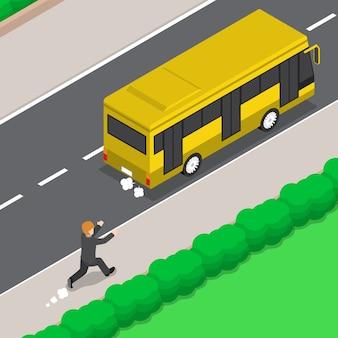 Homme d'affaires isométrique 3d plat est en cours d'exécution suivez le bus