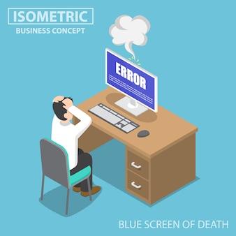 Homme d'affaires isométrique ayant des problèmes lorsque son ordinateur affiche une erreur d'écran bleu
