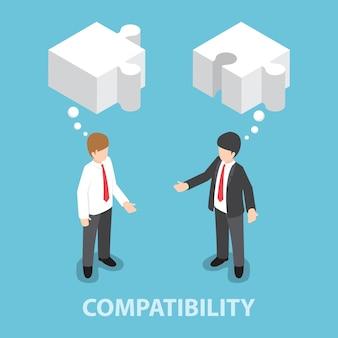 Homme d'affaires isométrique dans la conversation