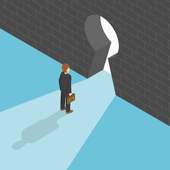 Homme d'affaires isométrique, debout devant le gros trou de la serrure