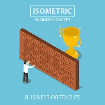 Homme d'affaires isométrique, debout devant le mur de briques avec le trophée derrière