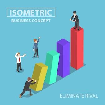 Homme d'affaires isométrique éliminer son rival en poussant le graphique à barres