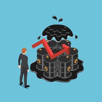 Homme d'affaires isométrique plat 3d debout devant des barils de pétrole avec une flèche rouge montante. augmentation du prix du pétrole et concept d'entreprise.