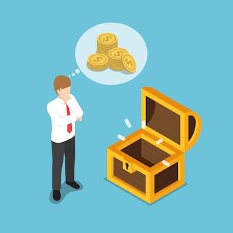 Homme d'affaires isométrique plat 3d debout devant une boîte au trésor vide. concept financier d'entreprise.