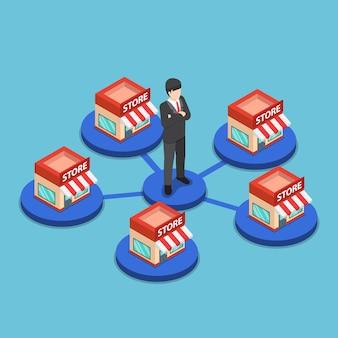 Homme d'affaires isométrique plat 3d debout avec réseau de magasins commerciaux. notion de franchise.