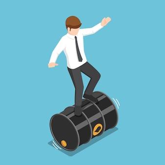 Homme d'affaires isométrique plat 3d en équilibre sur le baril de pétrole roulant. concept de crise pétrolière et de risque d'investissement.