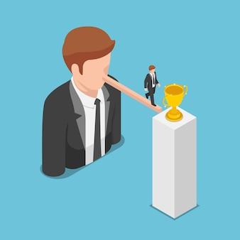 Homme d'affaires isométrique plat 3d marchant sur un long nez vers le trophée. concept de menteur et de leadership.