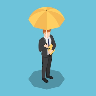 Homme d'affaires isométrique plat 3d avec parapluie et fichier de document à la main. concept d'agent de protection et d'assurance des entreprises.