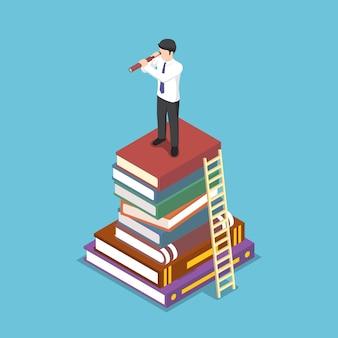 Homme d'affaires isométrique plat 3d regardant à travers le télescope sur une pile de livres. vision d'entreprise et concept d'éducation.