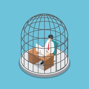 Homme d'affaires isométrique plat 3d travaillant dans la cage à oiseaux.