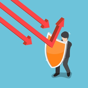 Un homme d'affaires isométrique plat 3d utilise un bouclier pour protéger le graphique en chute. notion financière.