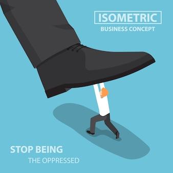 Homme d'affaires isométrique se battant contre le pied géant