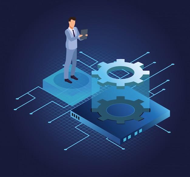 Homme d'affaires isométrique et technologie