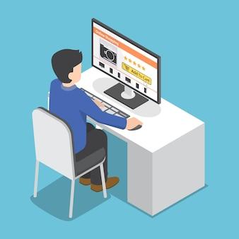 Homme d'affaires isométrique utilise un ordinateur pour faire des achats en ligne
