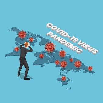 Homme d'affaires isométrique avec le virus covid-19 sur la carte du monde