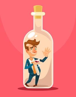 Homme d'affaires ivre en bouteille isolé sur rose