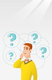 Homme d'affaires jeune pensant illustration vectorielle.