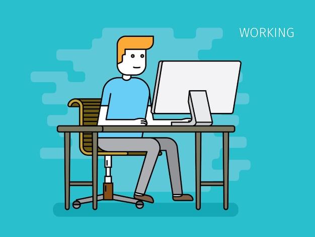 Homme d'affaires jeune travaillant sur l'espace de travail